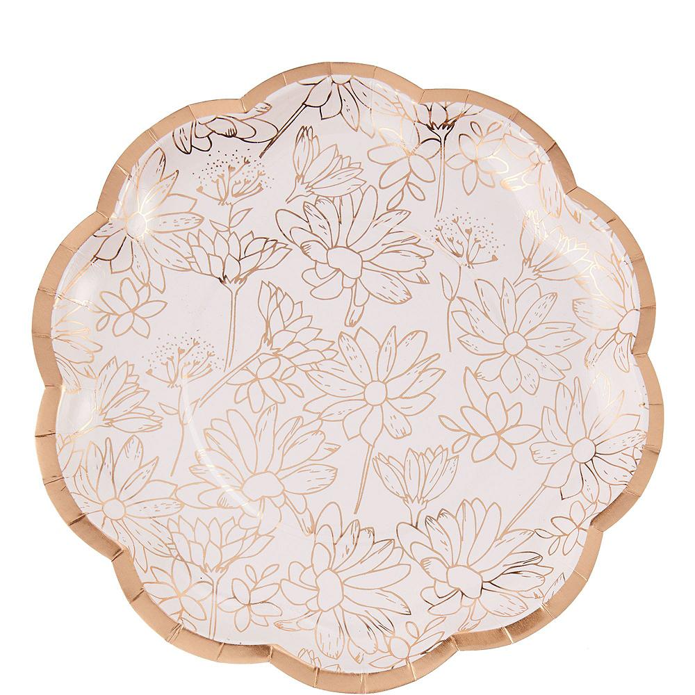Rose Gold Floral Bridal Shower Tableware Kit for 50 Guests Image #2