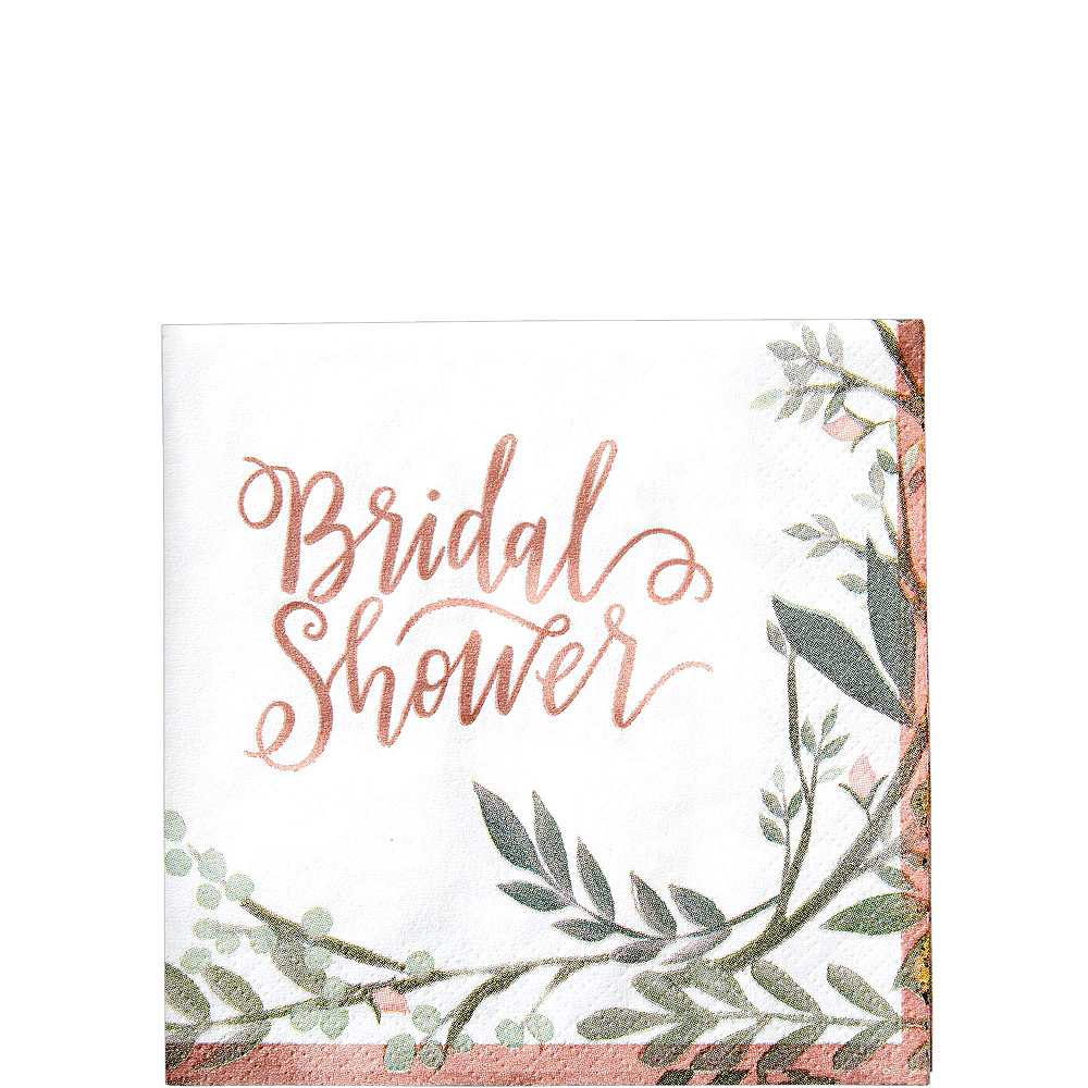 Metallic Floral Greenery Bridal Shower Party Supplies for 50 Guests Image #4