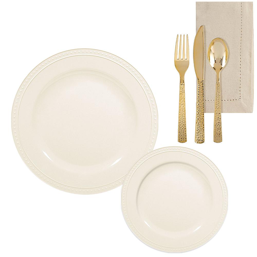 Creamy White Melamine Beaded Dinnerware Set for 8 Image #1