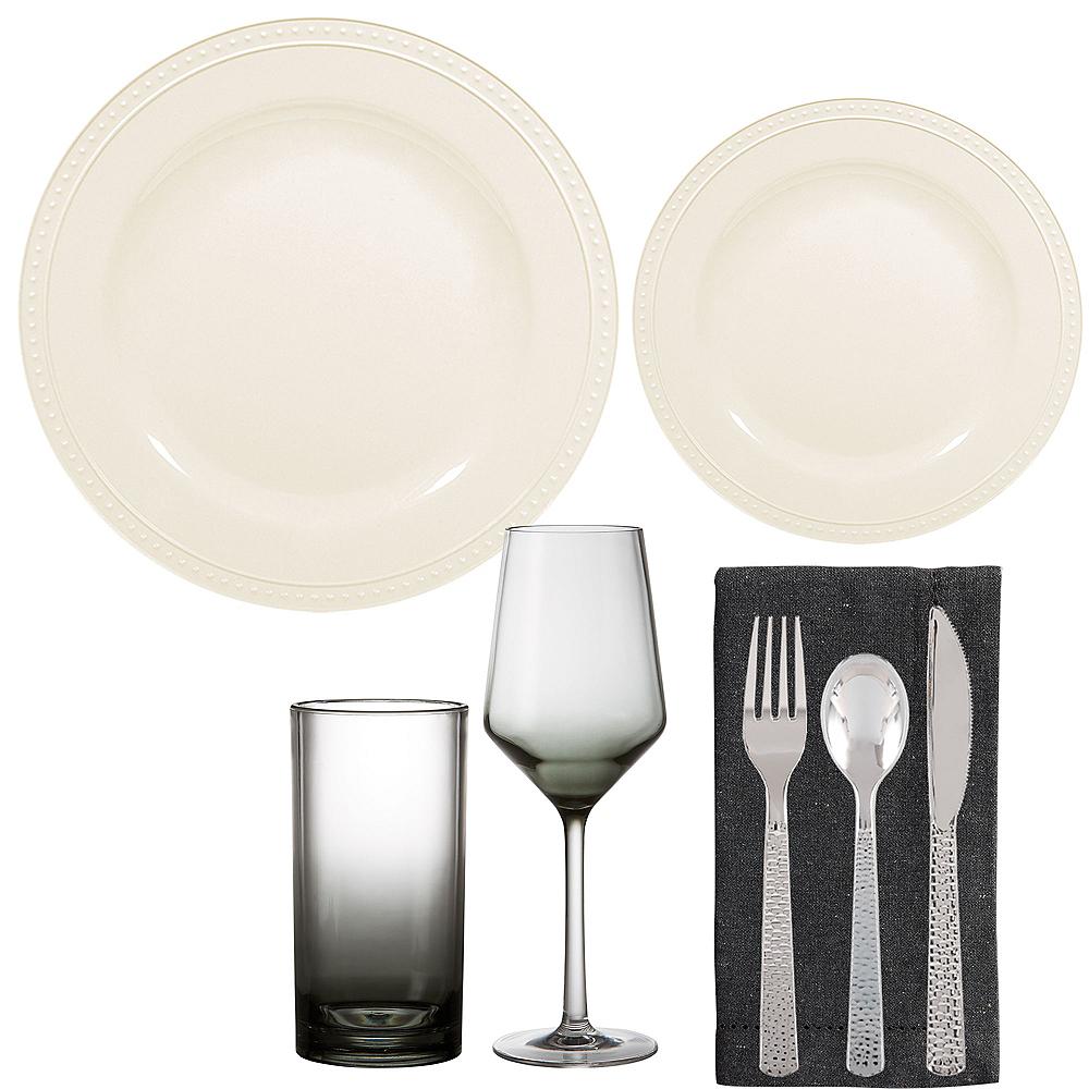 Creamy White Melamine Beaded Tableware Set for 8 Image #1