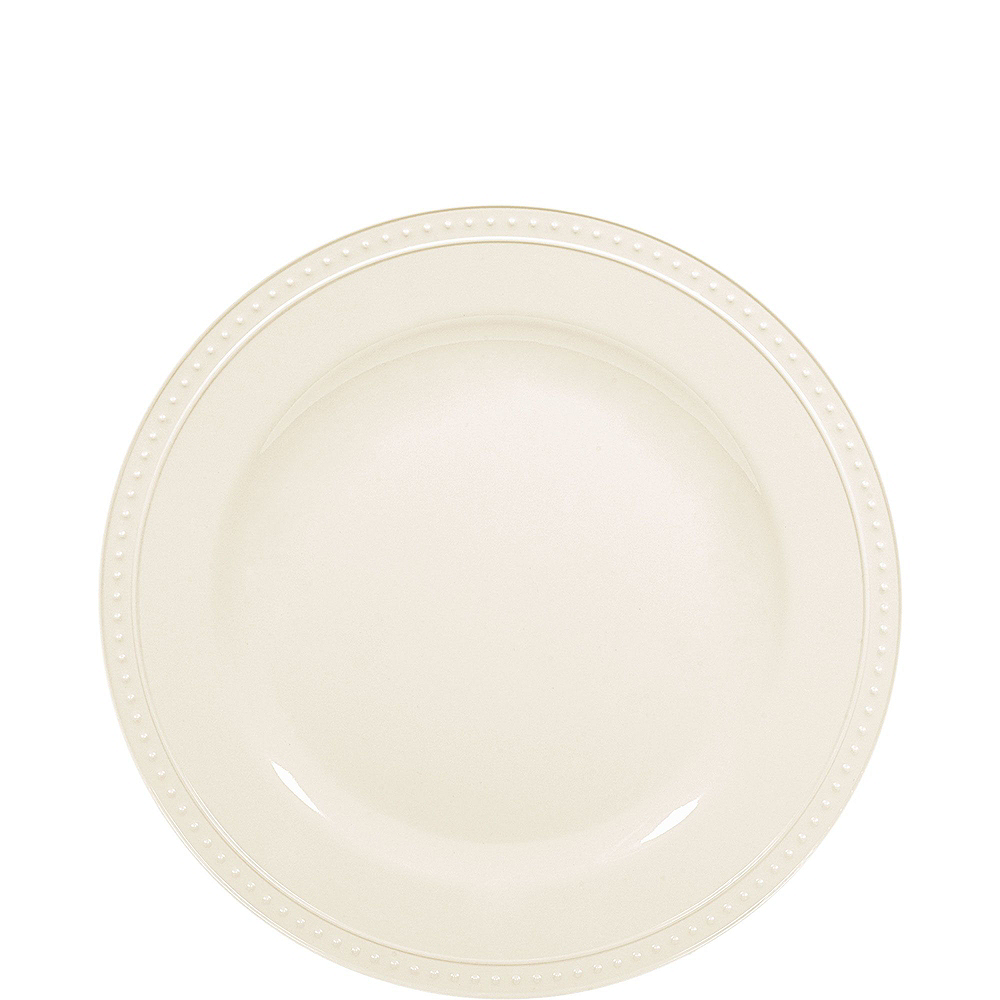 Creamy White Melamine Beaded Plate Set for 20 Image #2