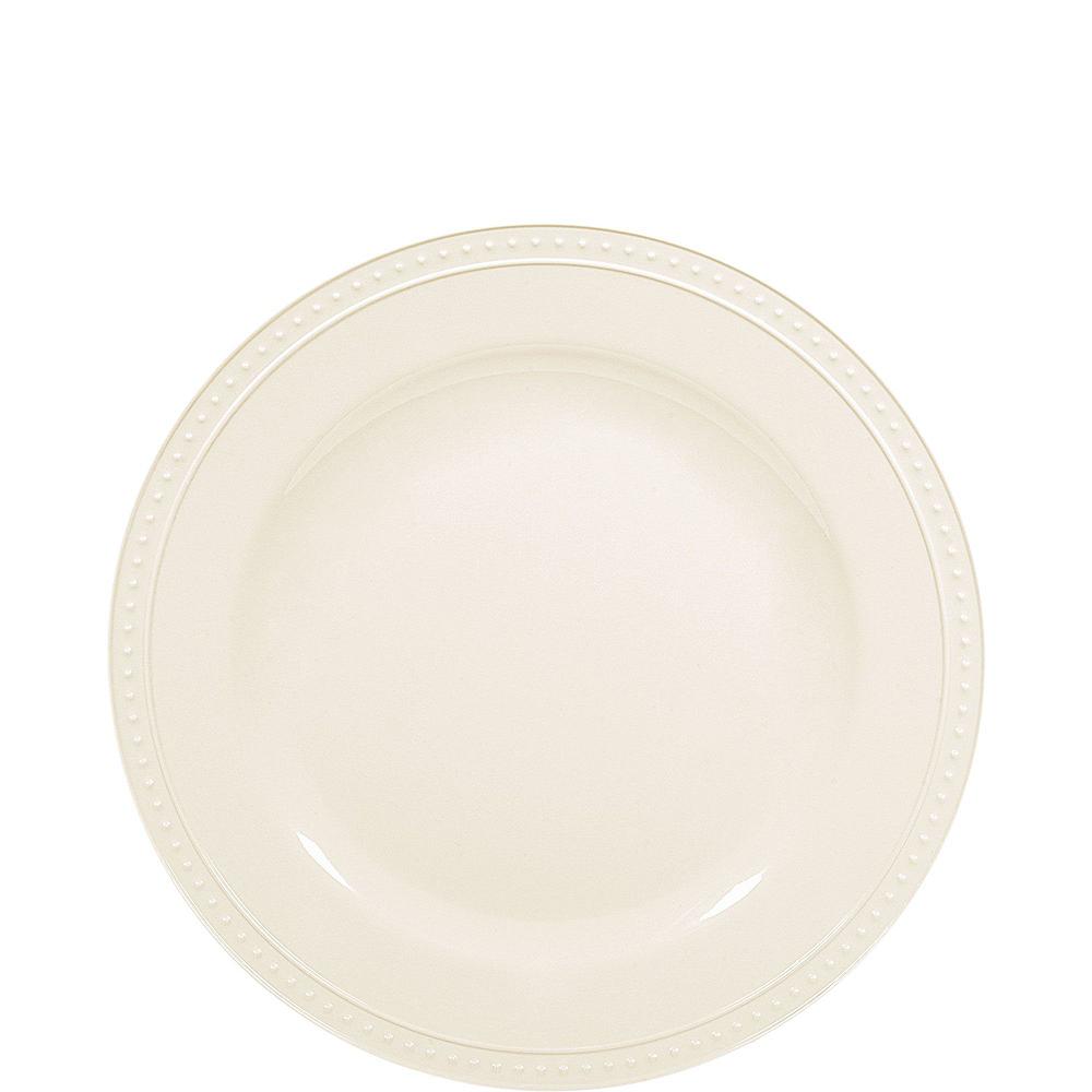 Creamy White Melamine Beaded Plate Set for 8 Image #2