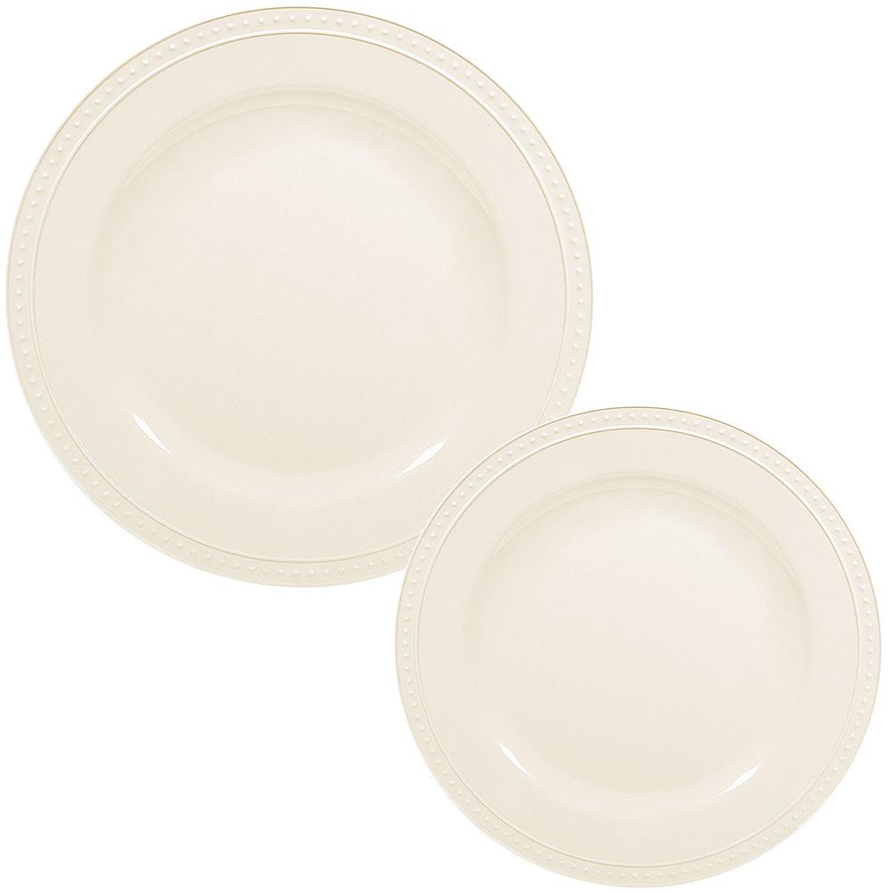 Creamy White Melamine Beaded Plate Set for 12 Image #1