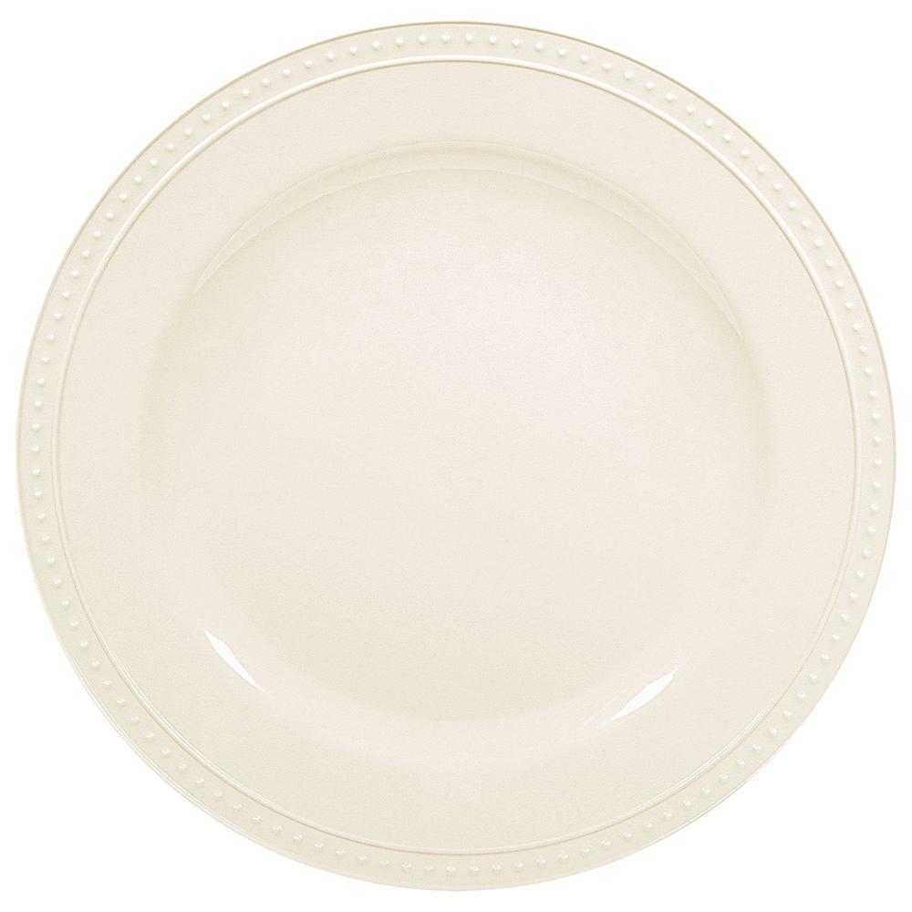 Creamy White Melamine Beaded Plate Set for 12 Image #3
