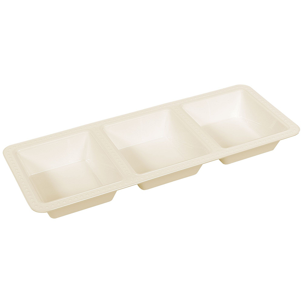 Creamy White Melamine Beaded Serveware Set Image #5