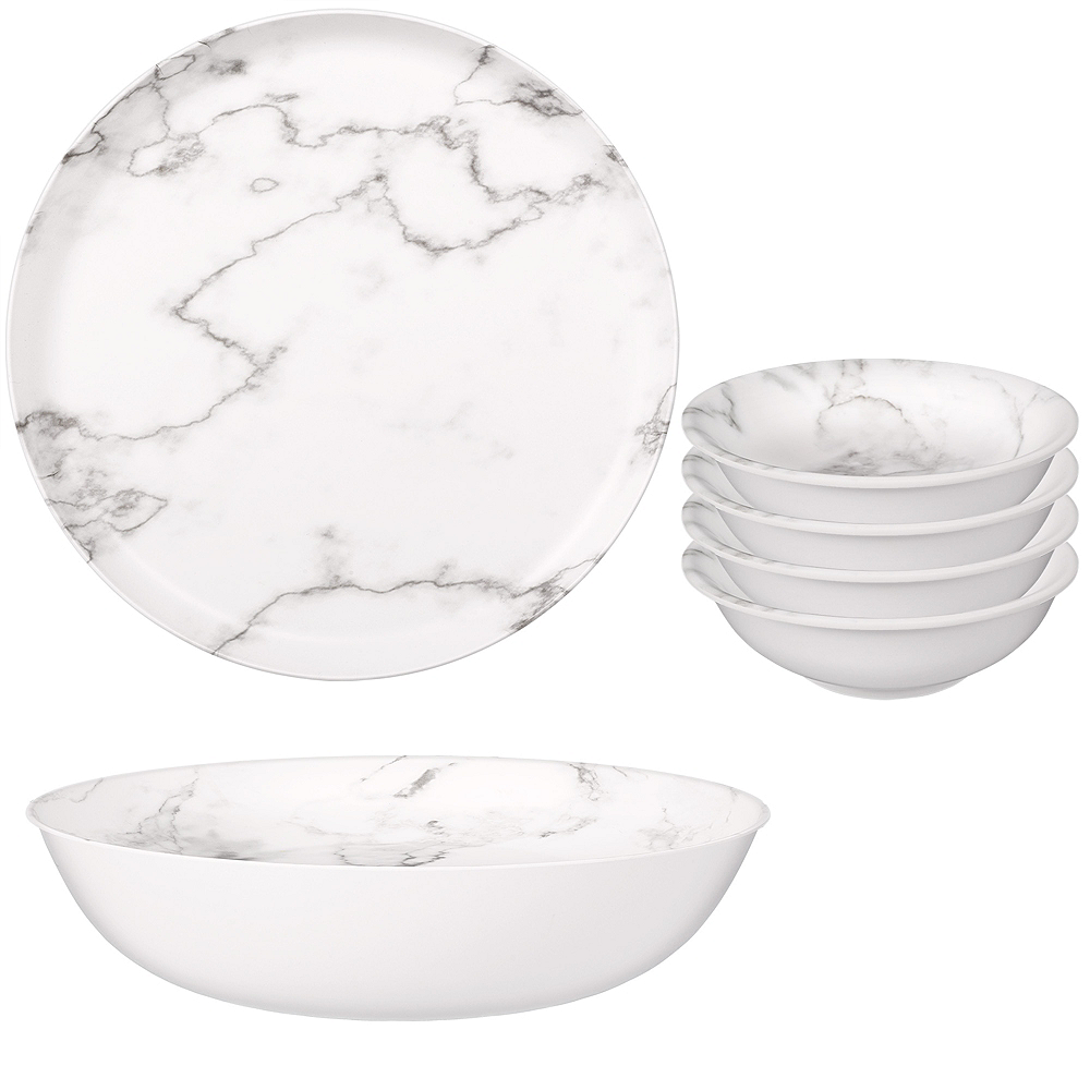 Faux White Marble Melamine Serving Set Image #1