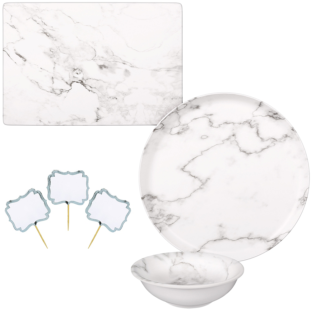 Faux White Marble Melamine Cheese Board & Bowl Set Image #1