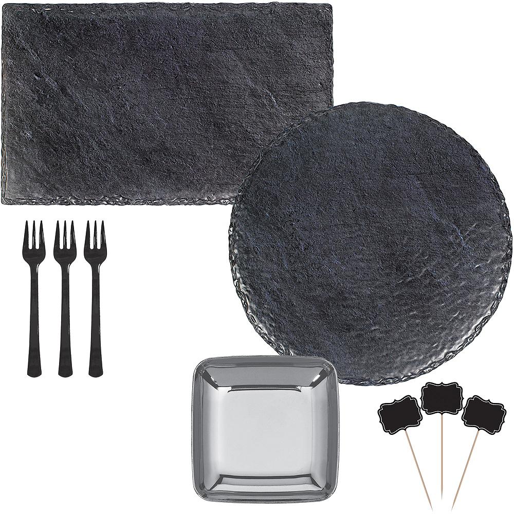 Faux Black Slate Melamine Cheese Board & Bowl Set Image #1