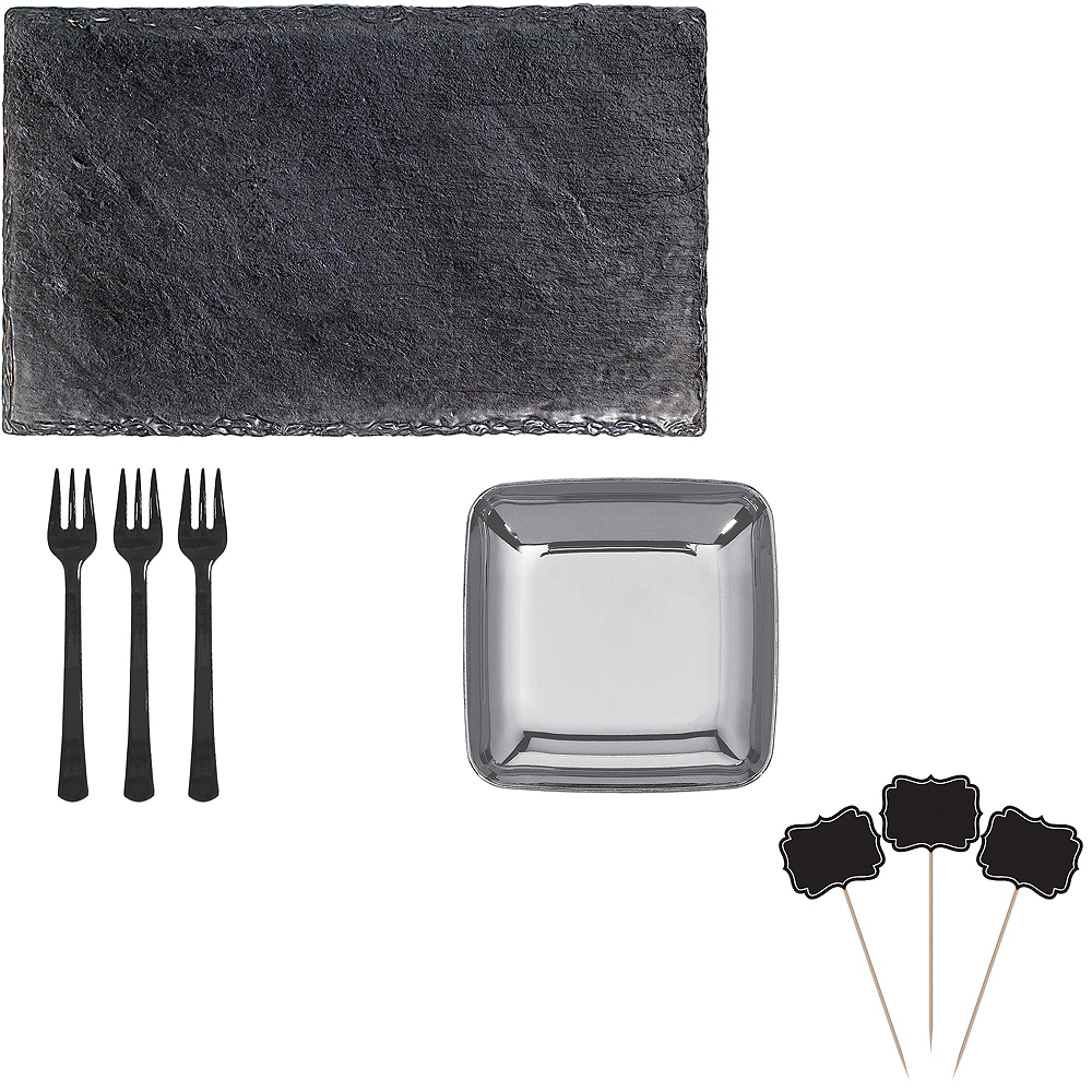 Faux Black Slate Melamine Rectangular Cheese Board Set Image #1
