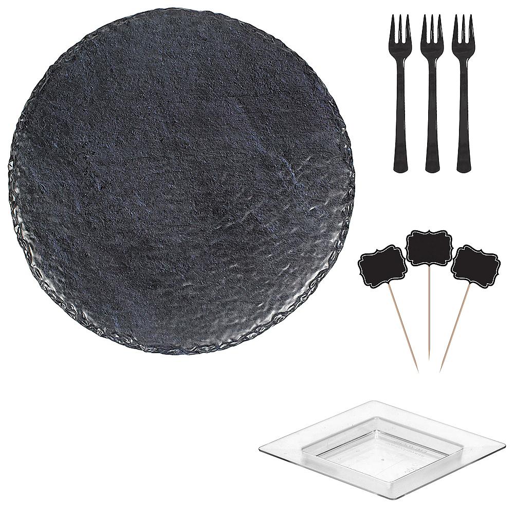 Faux Black Slate Melamine Round Cheese Board Set Image #1