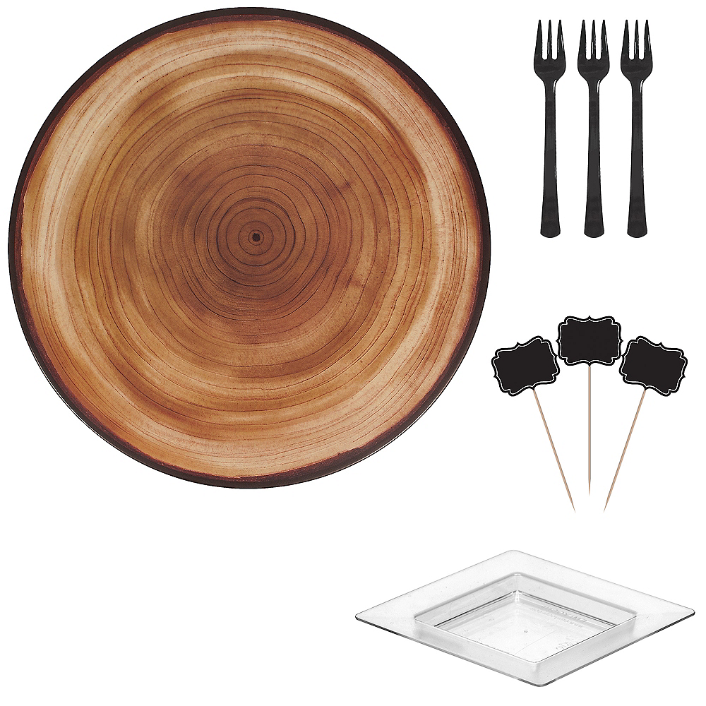 Faux Wood Melamine Cheese Board & Bowl Set Image #1