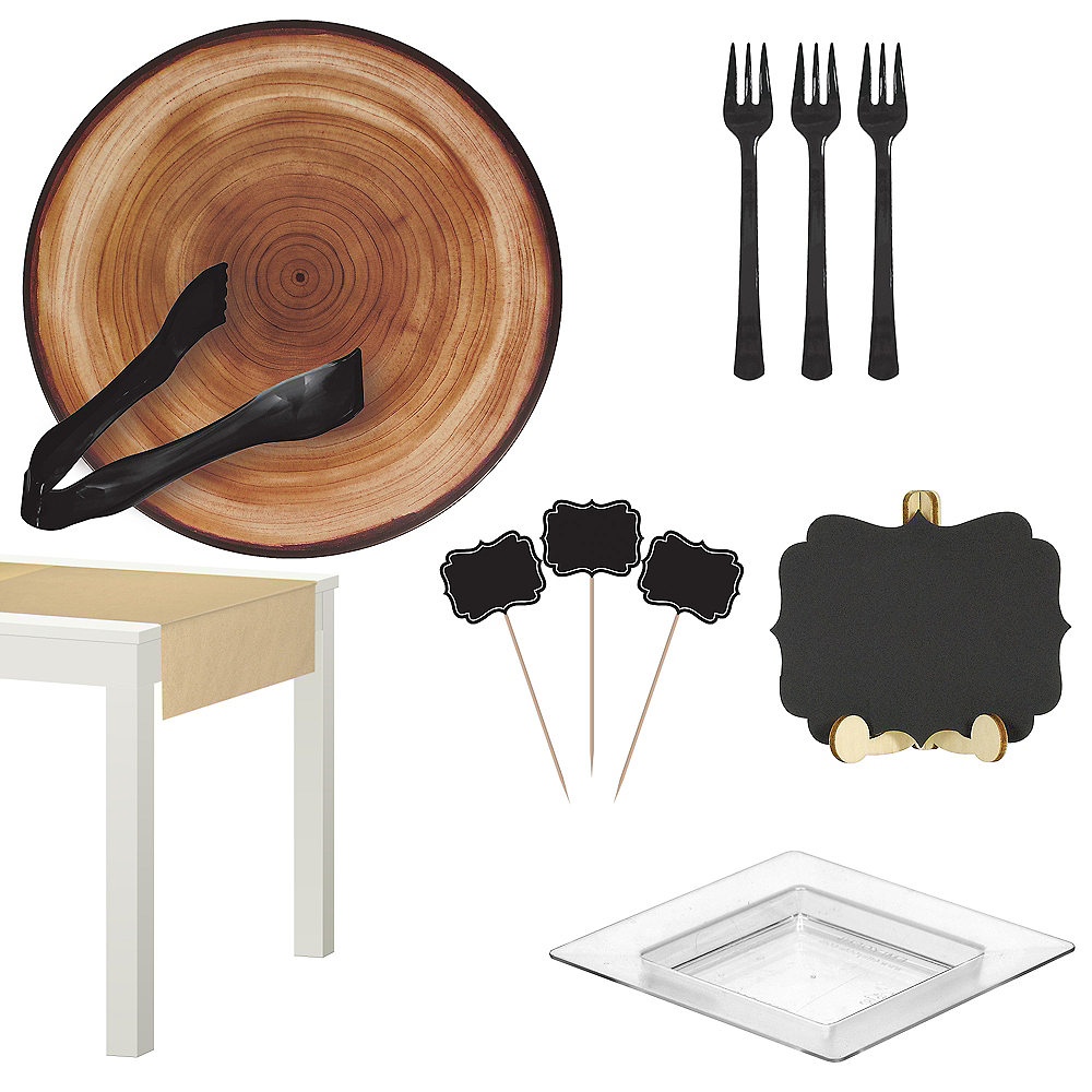 Nav Item for Faux Wood Melamine Deluxe Cheese Board Set Image #1