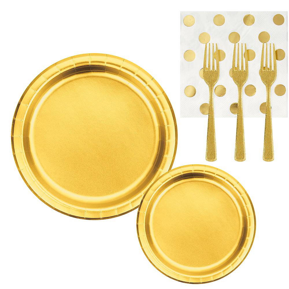 Metallic Gold & Polka Dot Lunch Kit for 16 Guests Image #1