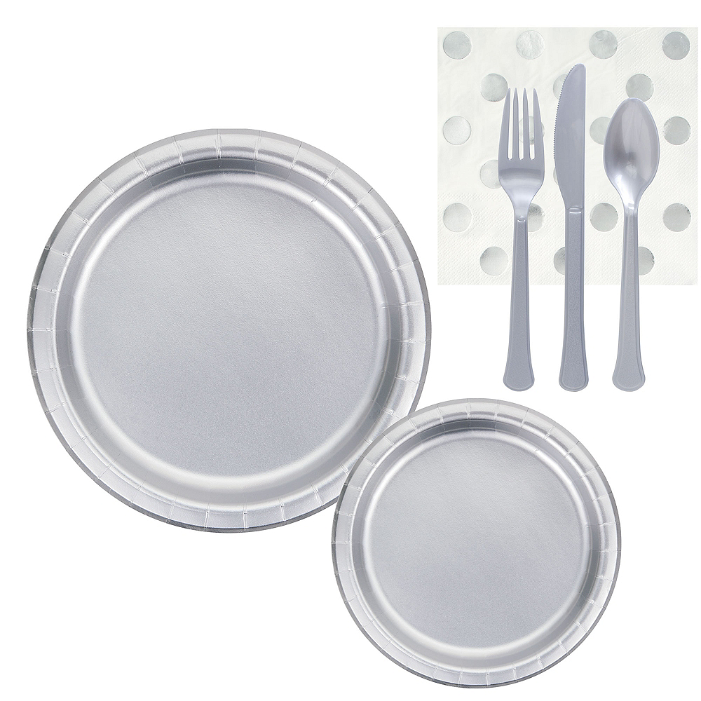 Metallic Silver & Polka Dot Lunch Kit for 16 Guests Image #1