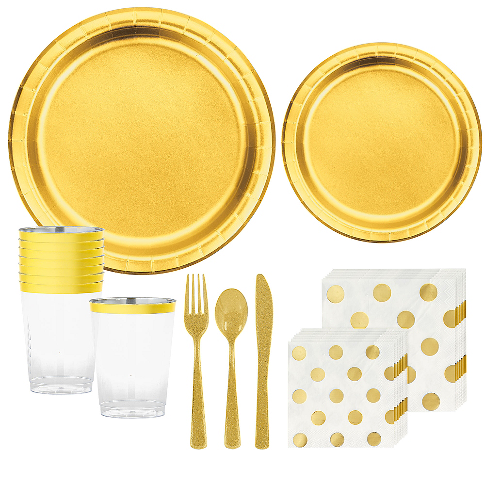 Metallic Gold & Polka Dot Tableware Kit for 16 Guests Image #1