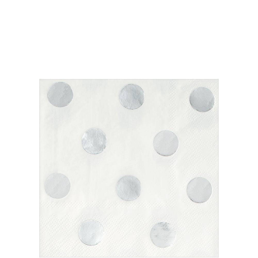Metallic Silver & Polka Dot Tableware Kit for 16 Guests Image #4