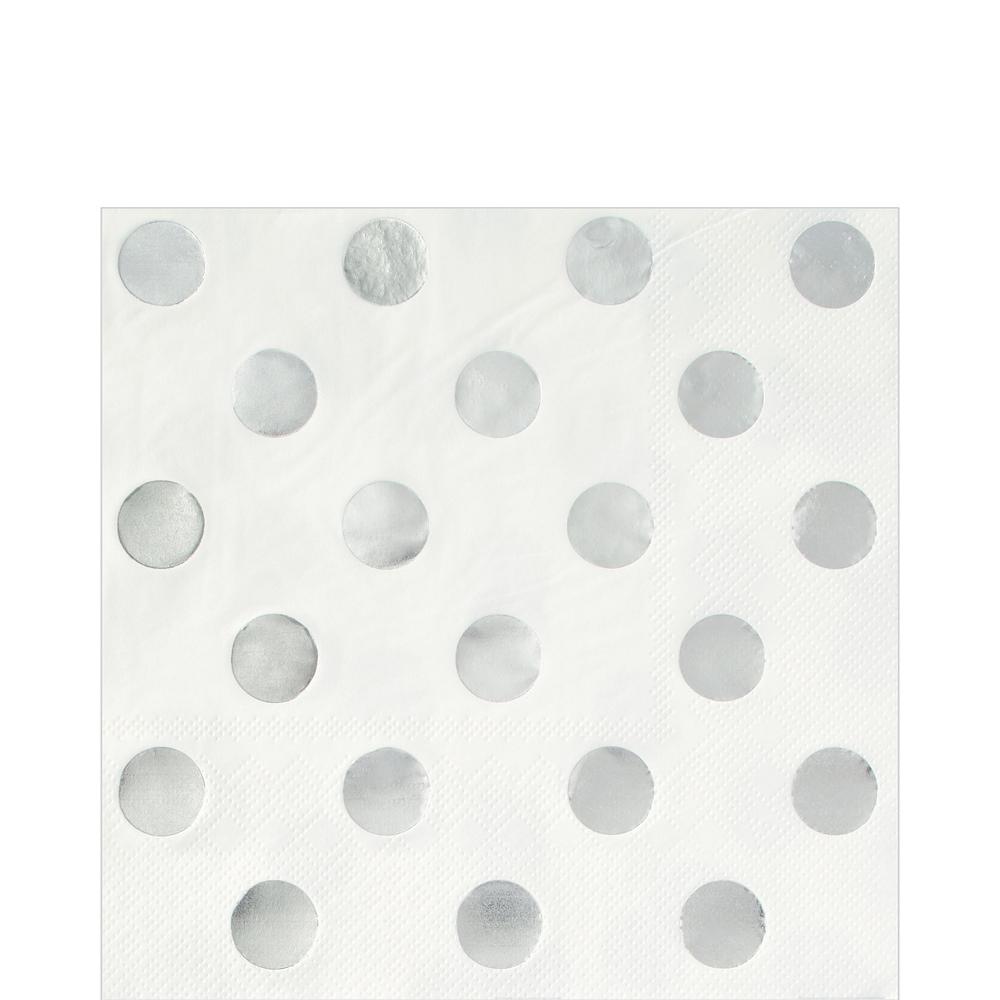 Metallic Silver & Polka Dot Tableware Kit for 16 Guests Image #5