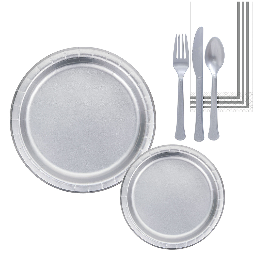 Metallic Silver Lunch Kit for 16 Guests Image #1