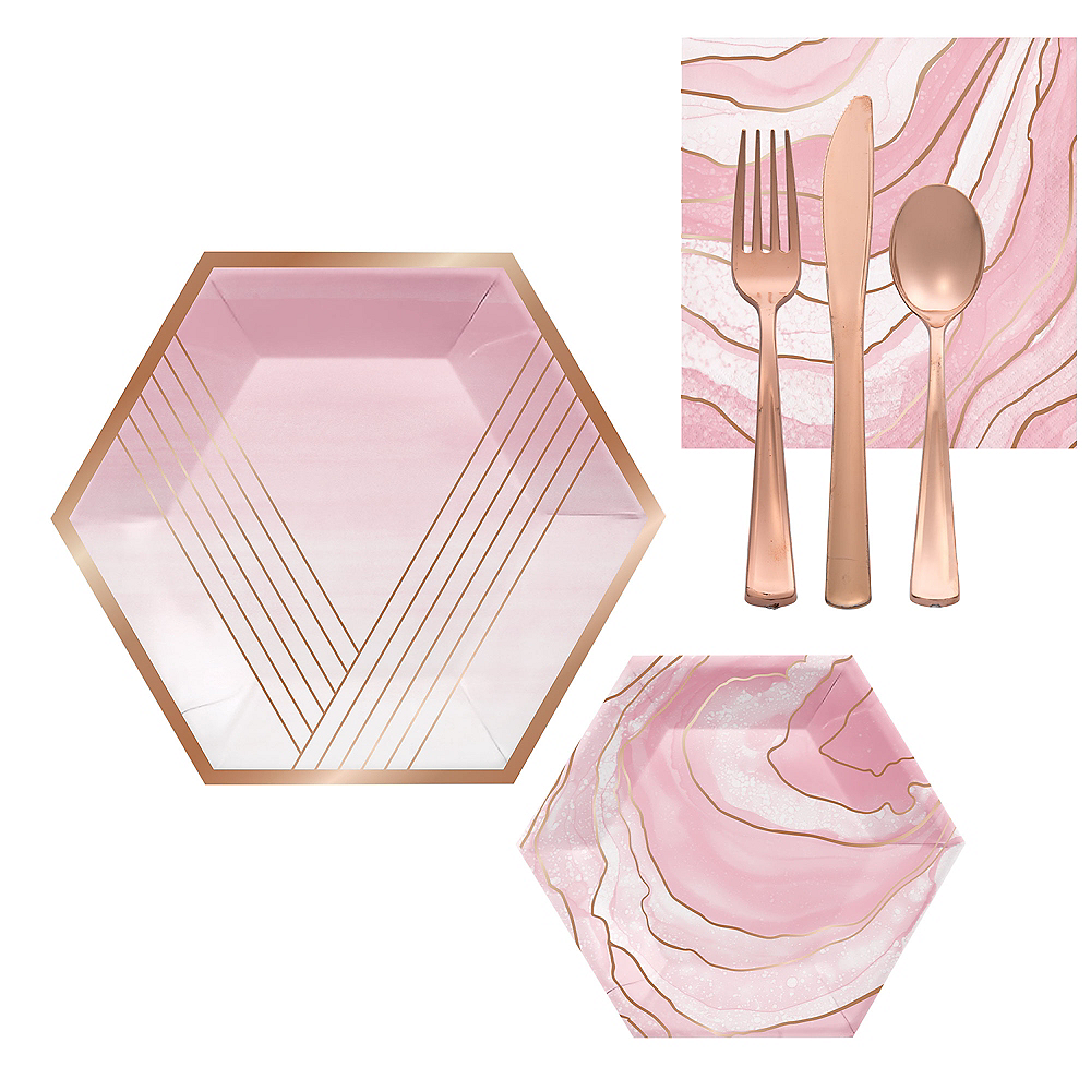 Metallic Rose Gold Geode Swirl Lunch Kit for 16 Guests Image #1
