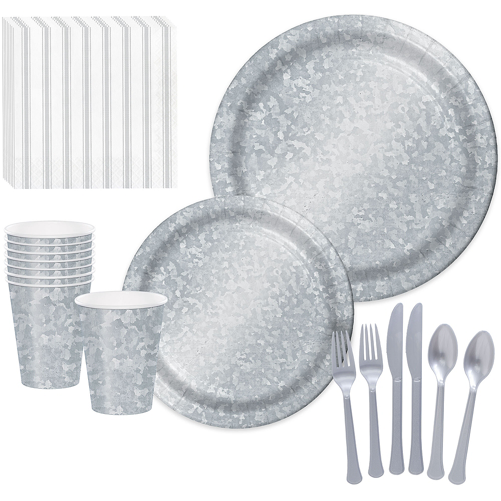 Faux Galvanized Steel Tableware Kit for 16 Guests Image #1