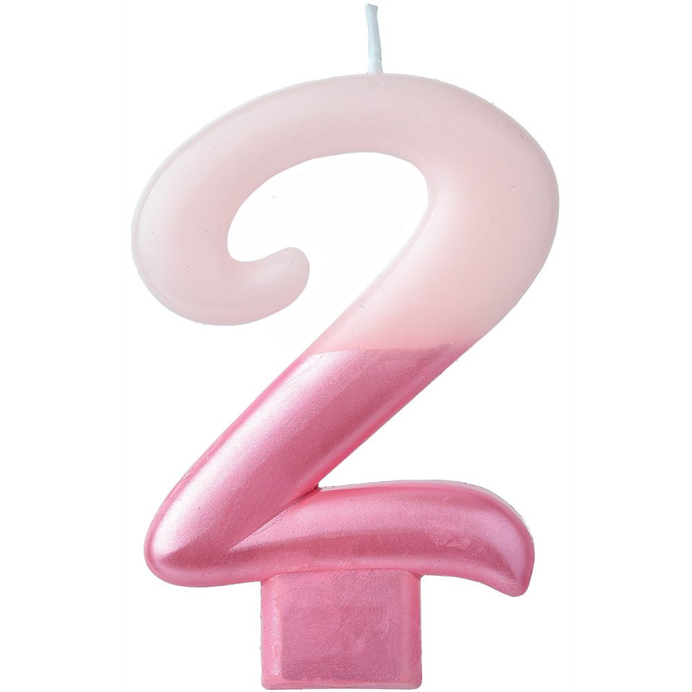 Metallic Dipped Pink Number 2 Birthday Candle 3 1/4in Image #1