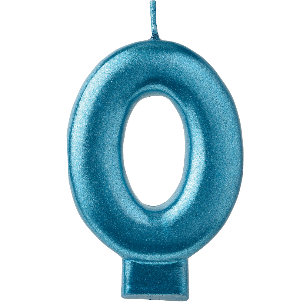 Metallic Blue Number 0 Birthday Candle 3 1/4in | Party City