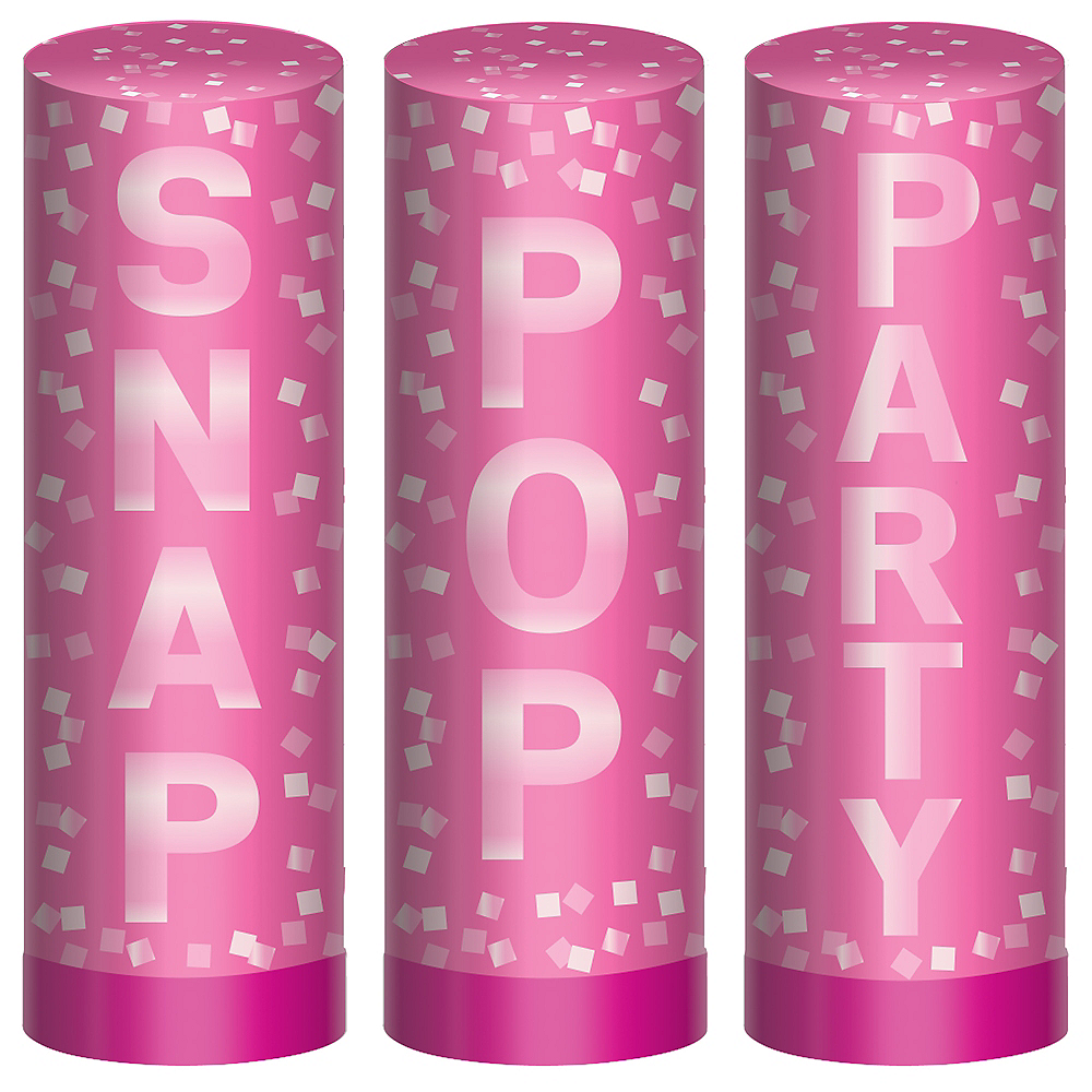 Bright Pink Confetti Party Poppers, 4in, 3ct Image #1