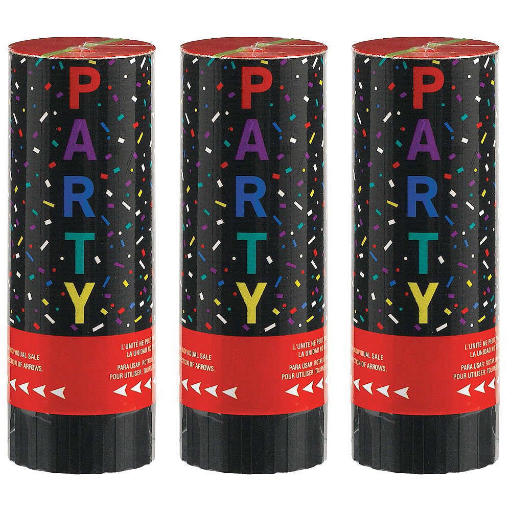 Multicolor Confetti Party Poppers, 4in, 3ct Image #1