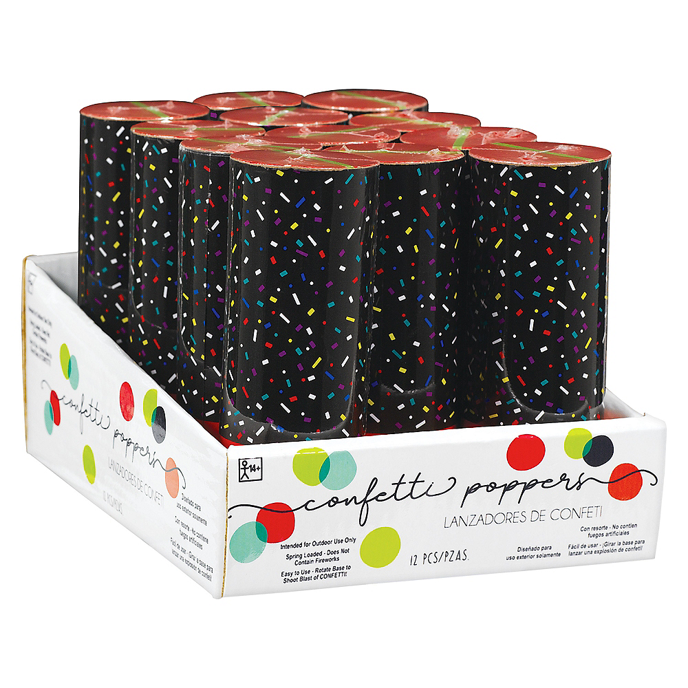 Multicolor Confetti Party Poppers, 4in, 12ct Image #1