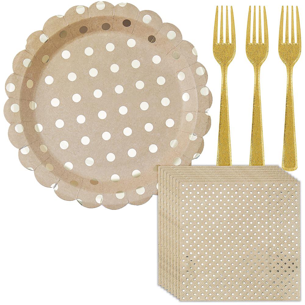 Metallic Gold Dot Kraft Lunch Kit for 16 Guests Image #1