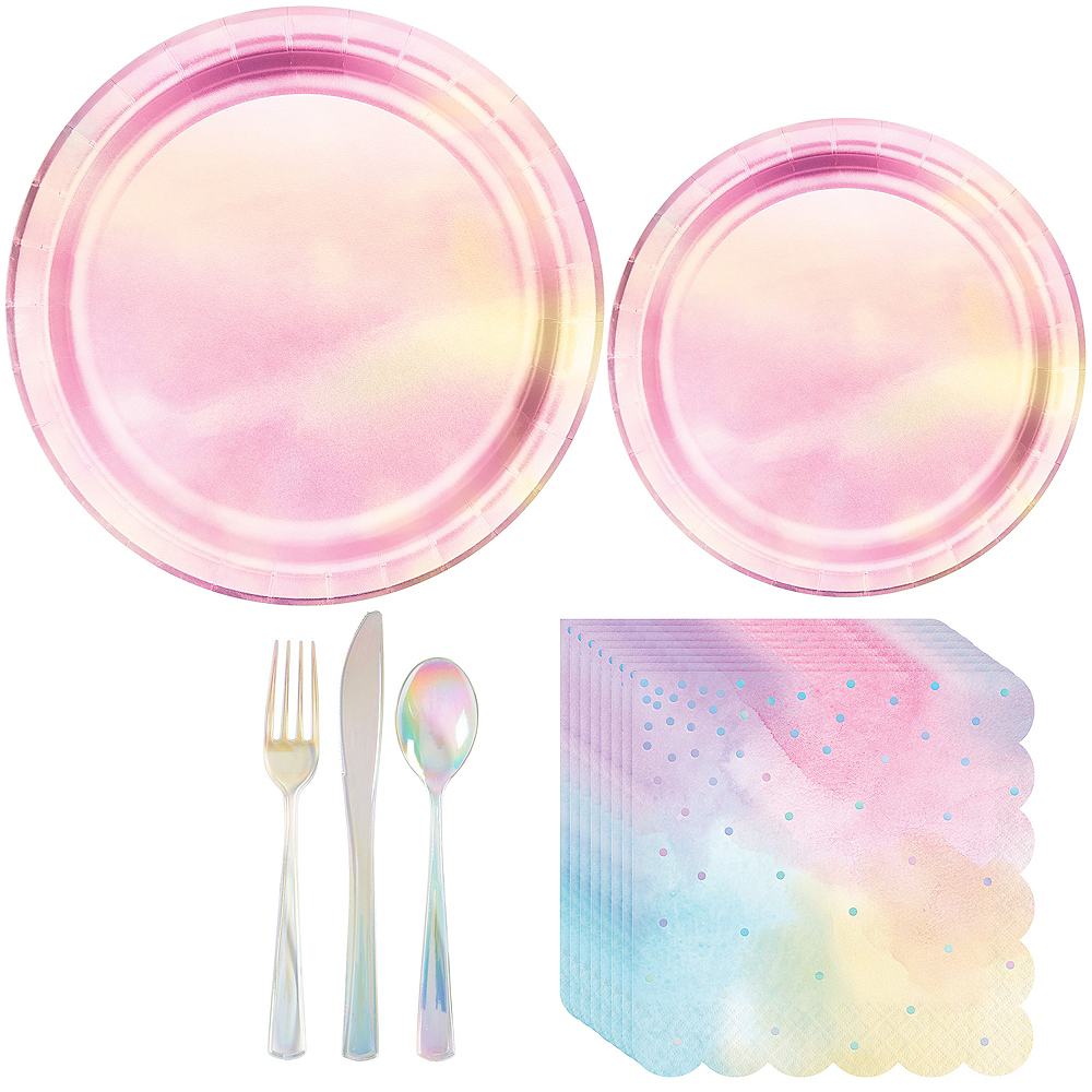 Iridescent Pastel Tableware Kit for 16 Guests Image #1