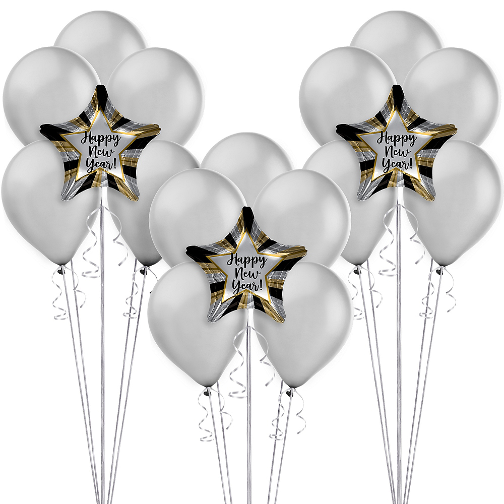 Silver New Year's Eve Balloon Kit Image #1