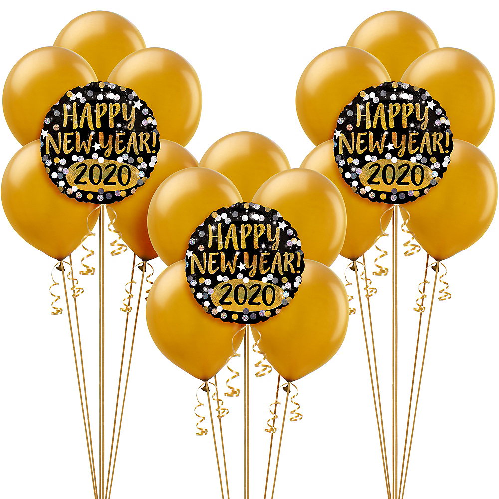 Prismatic Black, Gold & Silver New Year's Eve Balloon Kit Image #1