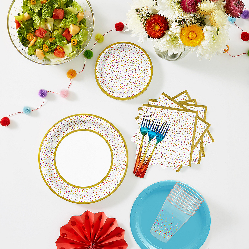 Blue & Rainbow Confetti Tableware Kit for 16 Guests Image #1
