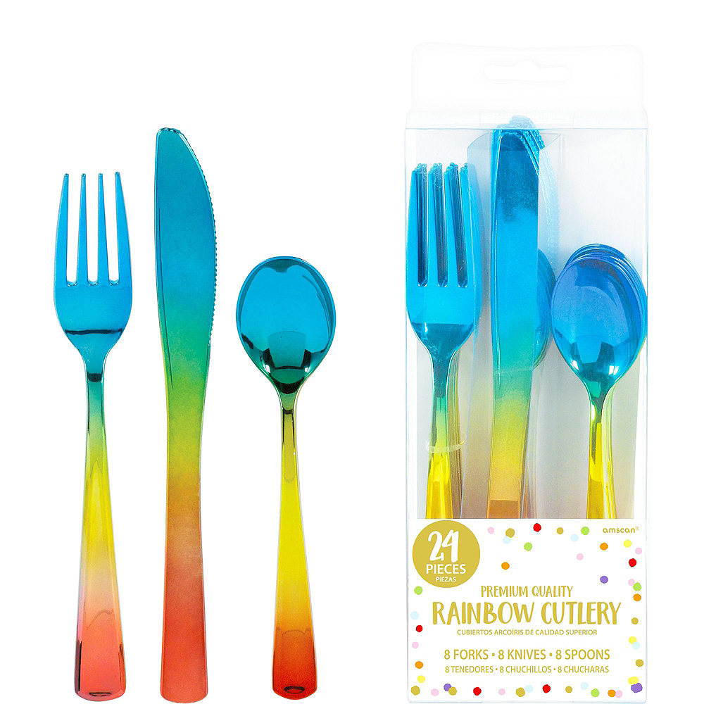 Blue & Rainbow Confetti Tableware Kit for 16 Guests Image #8