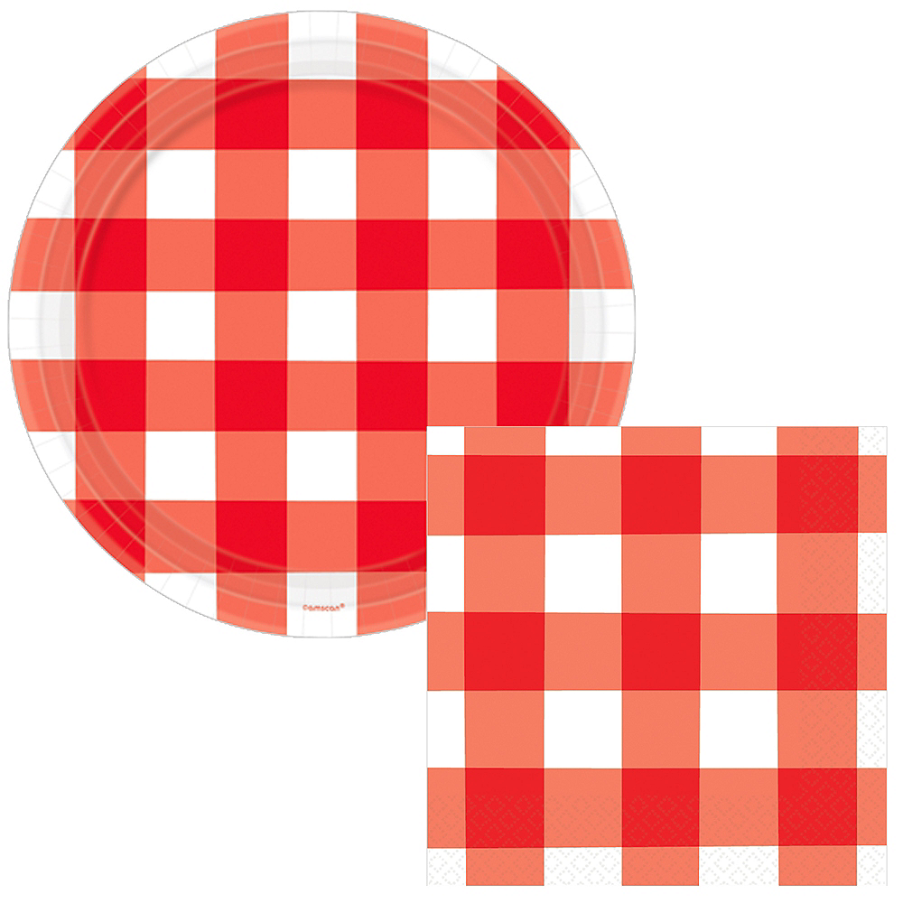 Basic Red Gingham Tableware Kit for 60 Guests Image #1
