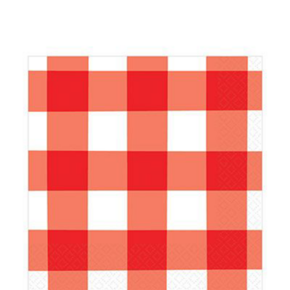 Basic Red Gingham Tableware Kit for 60 Guests Image #3