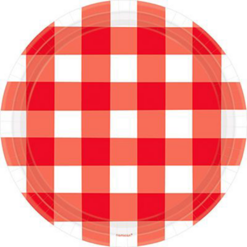 Basic Red Gingham Tableware Kit for 120 Guests Image #2