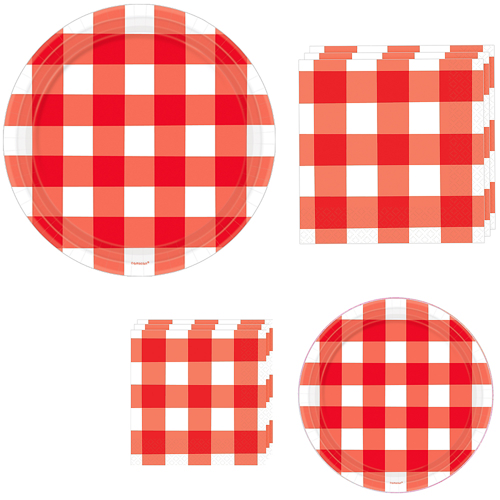 Red Gingham Tableware Kit for 120 Guests Image #1