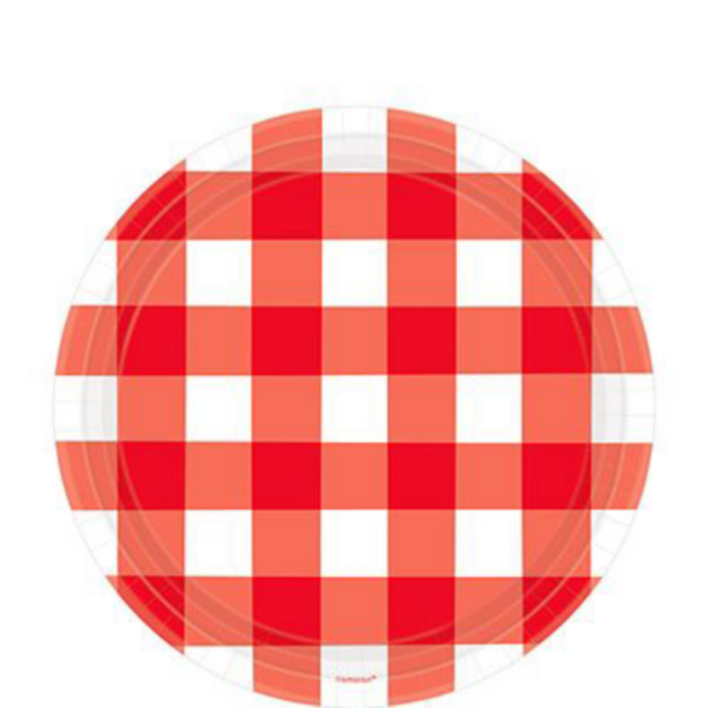 Red Gingham Tableware Kit for 120 Guests Image #2