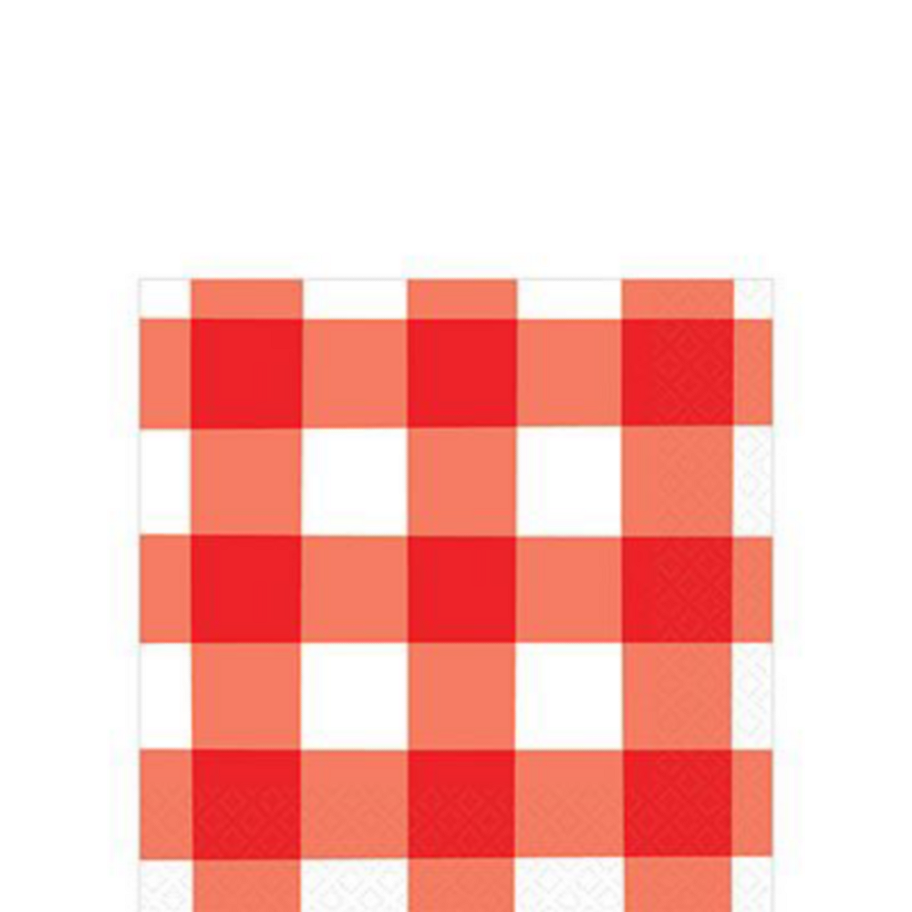 Red Gingham Tableware Kit for 120 Guests Image #4