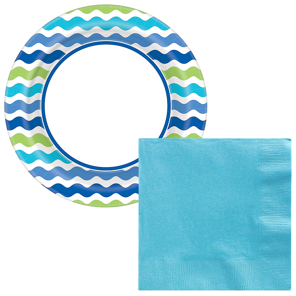 Basic Cool Wavy Stripe Tableware Kit for 120 Guests Image #1