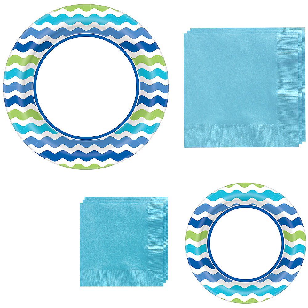 Cool Wavy Stripe Tableware Kit for 120 Guests Image #1