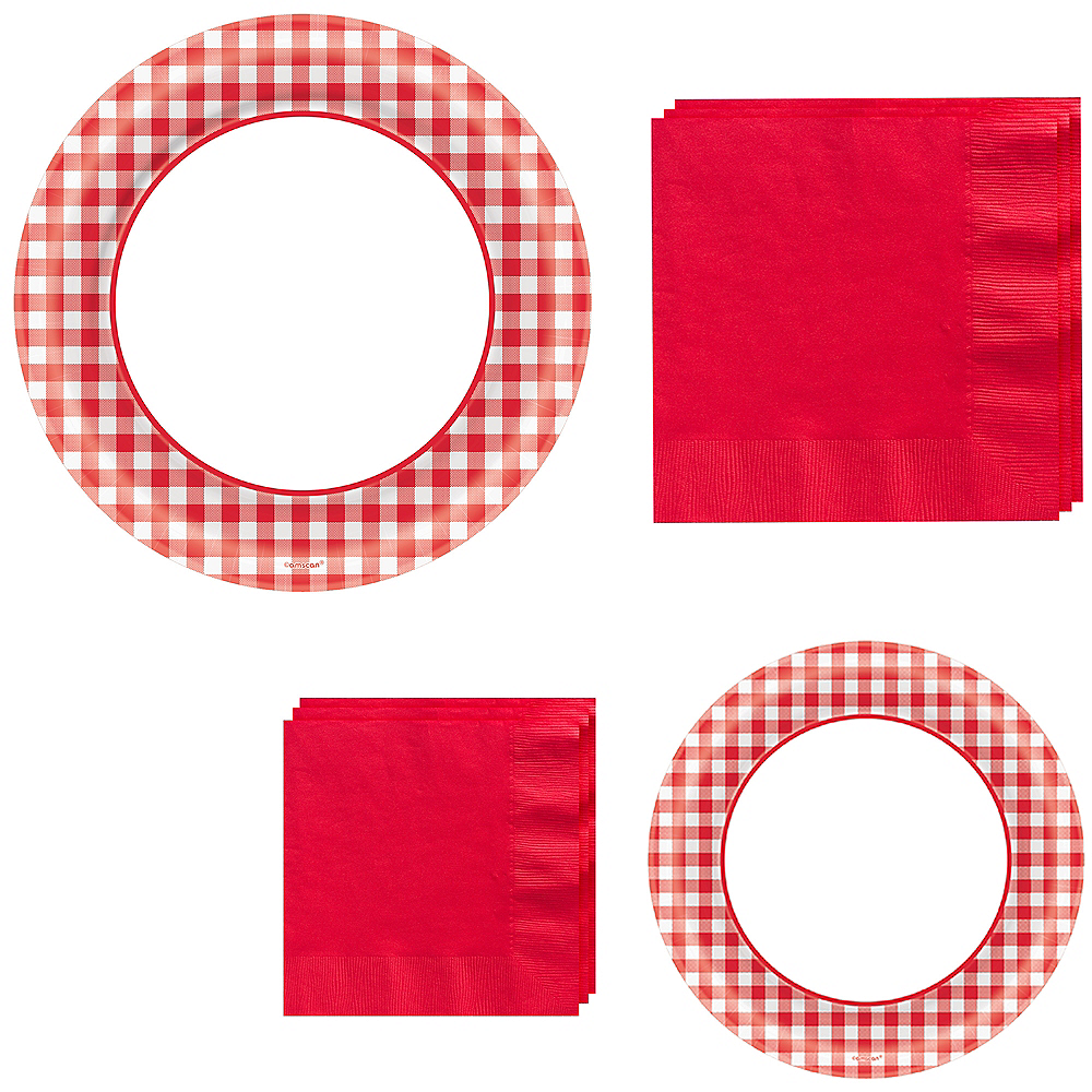 Picnic Gingham Tableware Kit for 120 Guests Image #1