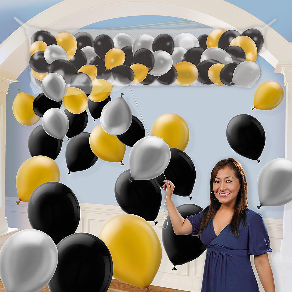 Air-Filled Black, Silver & Gold Balloon Drop Kit Image #1