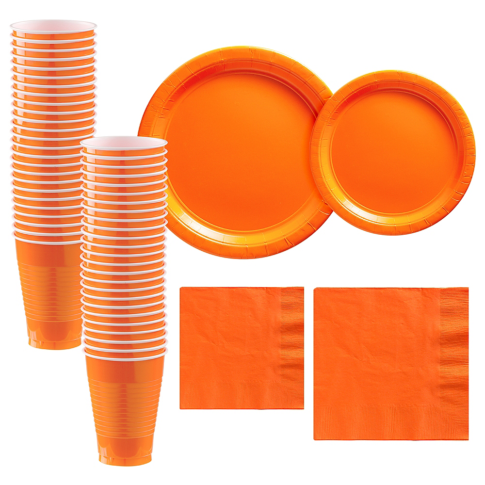 Orange Paper Tableware Kit for 50 Guests Image #1