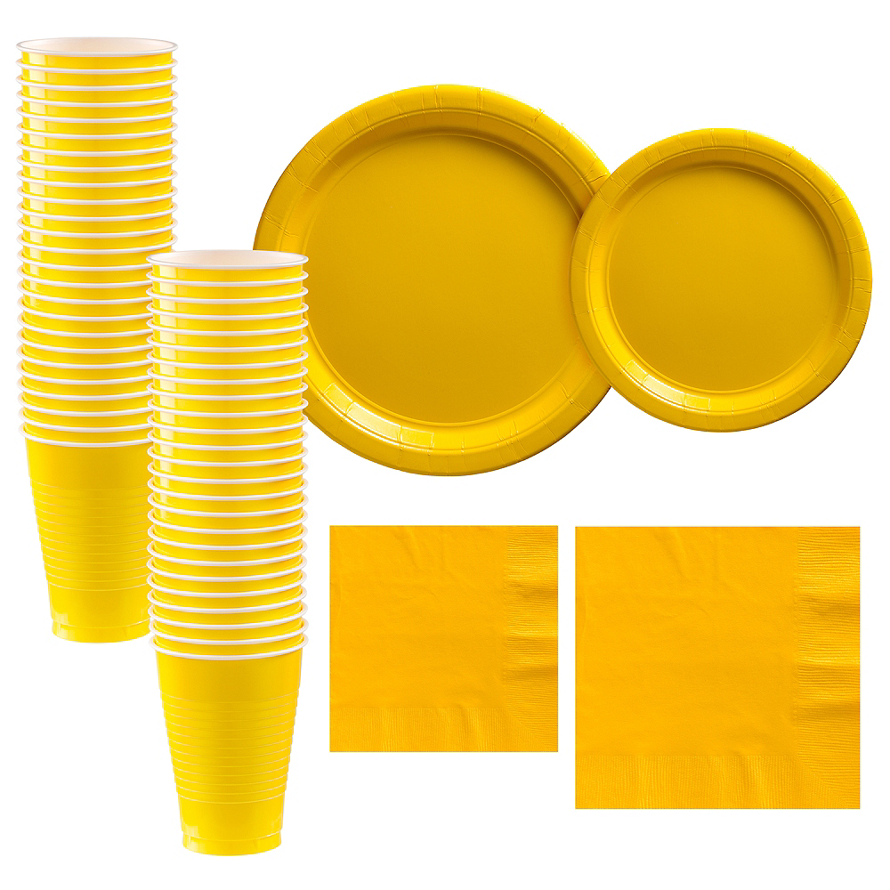 Yellow Paper Tableware Kit for 50 Guests Image #1