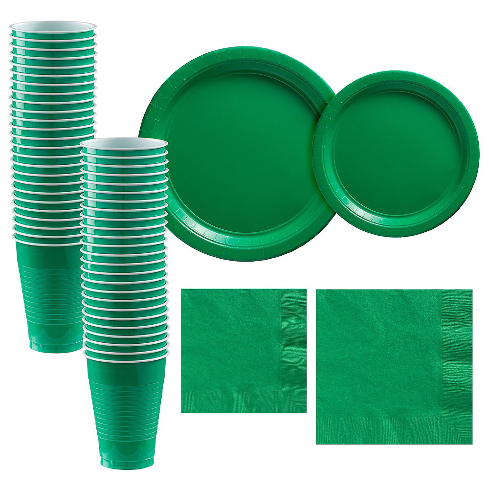 Festive Green Paper Tableware Kit for 50 Guests Image #1