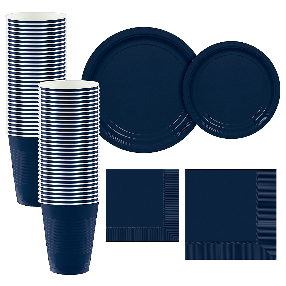 True Navy Paper Tableware Kit for 50 Guests Image #1