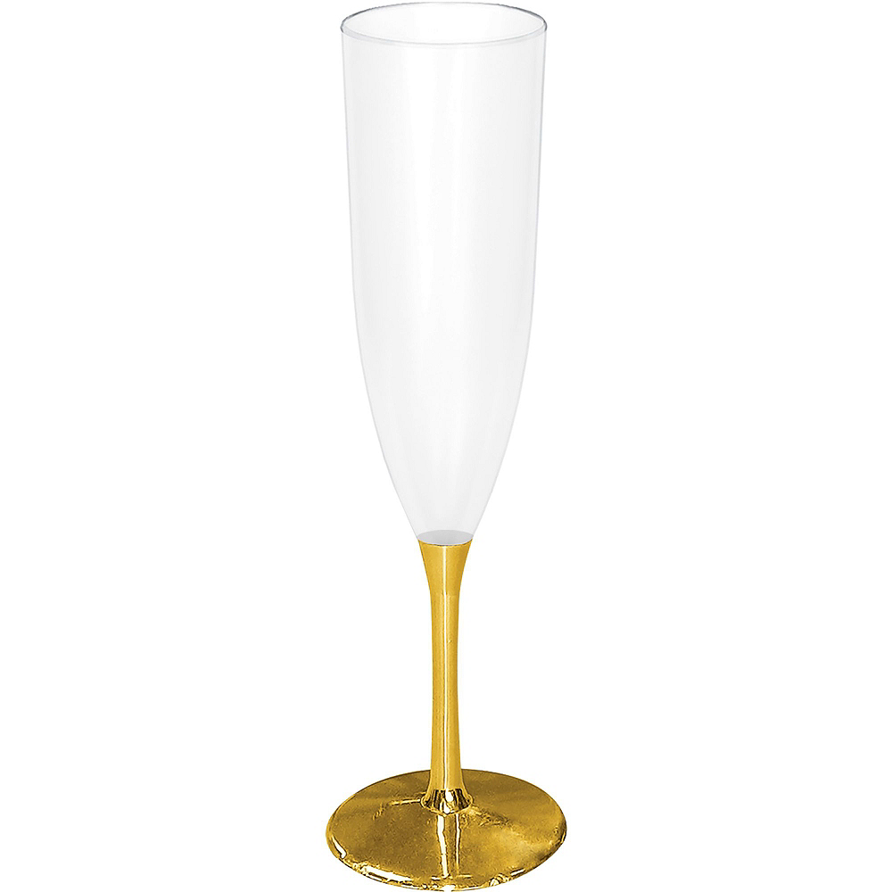 Gold Base New Year's Champagne Flutes 10ct Image #2